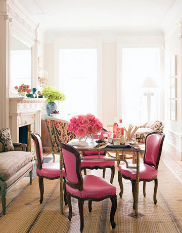 Delightful Pink Chairs In Living Room