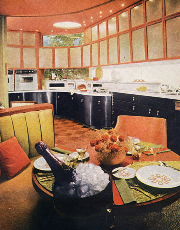 kitchen with black cabinets - 60s Home Decor