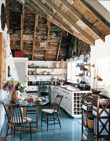 Beautiful Kitchen With Blue Floor