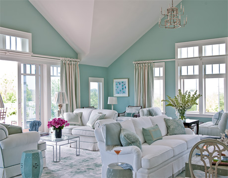 Blue Beach House Decor living room. Beachy Living Rooms. Home Design Ideas
