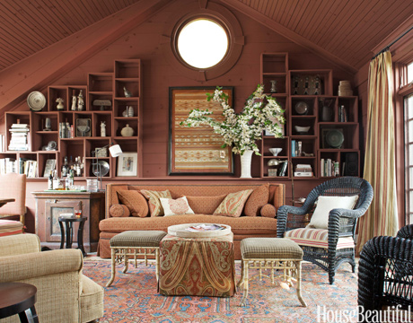 earthy red family room