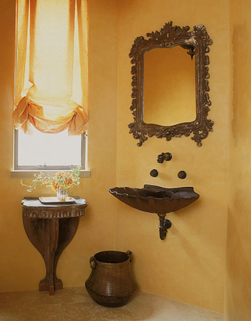 Powder room decorating ideas powder room design and pictures for Brown and yellow bathroom ideas