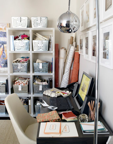 home office with open shelves and metal bins organisation e