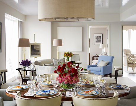 whole table with view of living room - Dining Room Table Settings