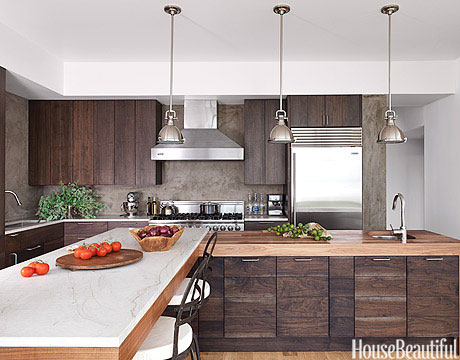 modern wood kitchen - walnut kitchen cabinets
