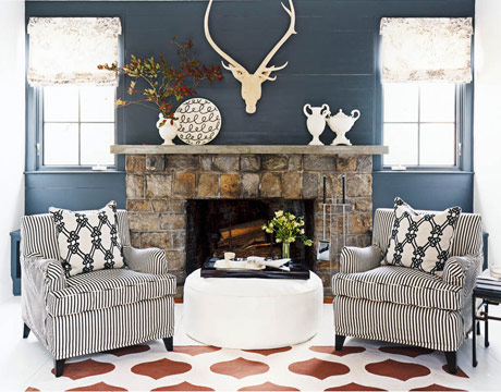 Fireplace With Matching Chairs And A Painted Floor White Ottoman Tray