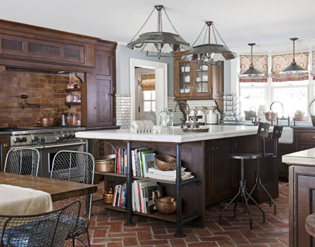 Country kitchen decorating ideas farmhouse kitchen for Country kitchen floor ideas