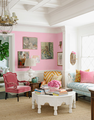 Pink Living Room With White Table And Beige Carpet Part 12
