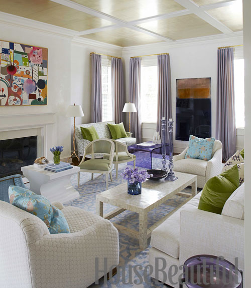 living room with metallic ceiling - House Beautiful Living Room Colors