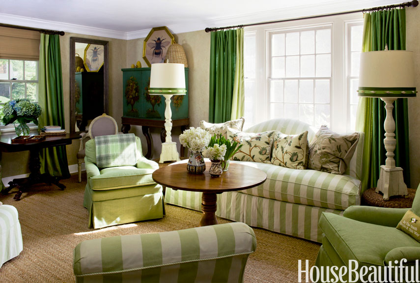 green stripe furniture in room - House Beautiful Living Room Colors