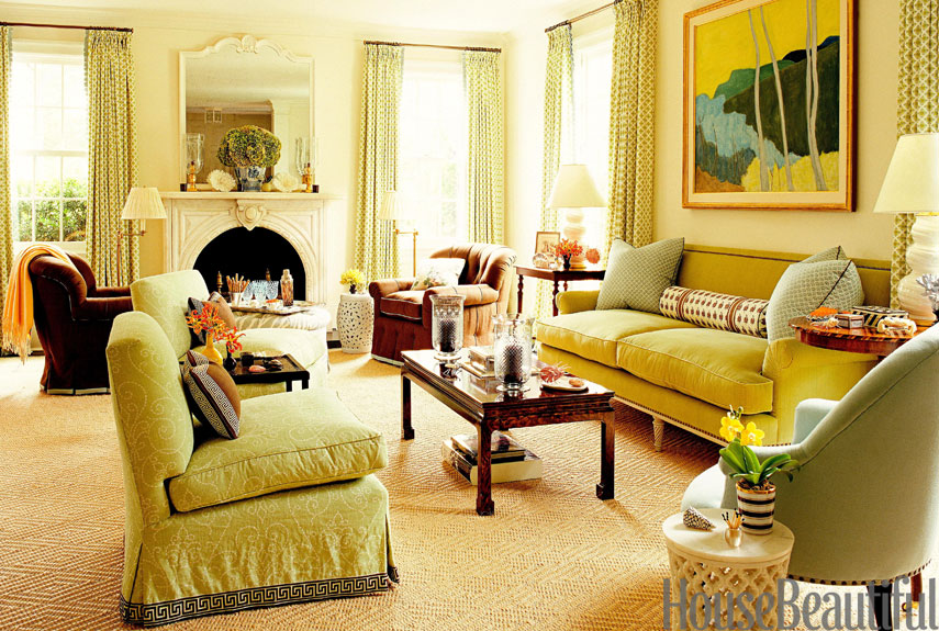 Yellow living room green furniture trend home design and Yellow green living room