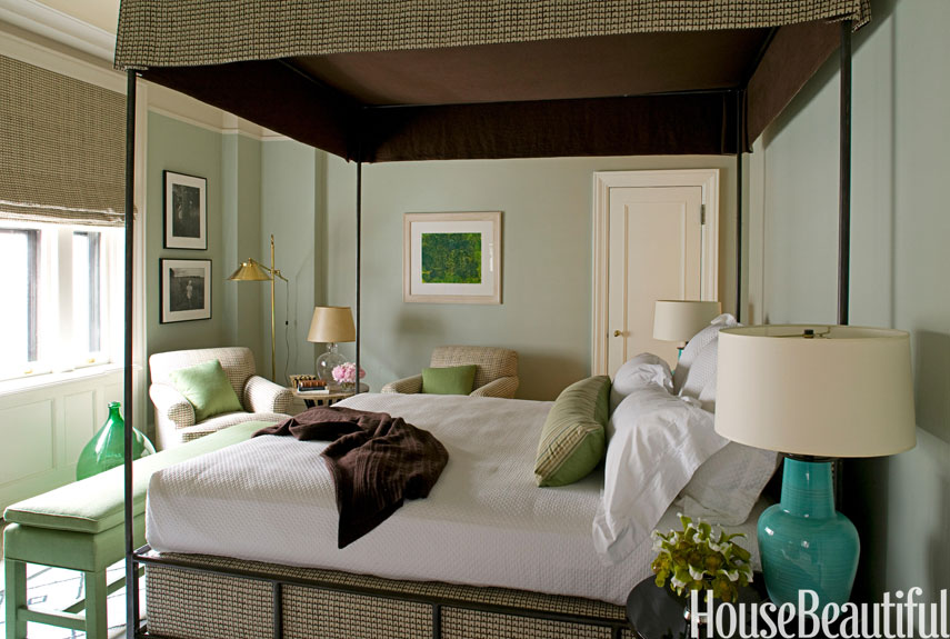 modern traditional green bedroom