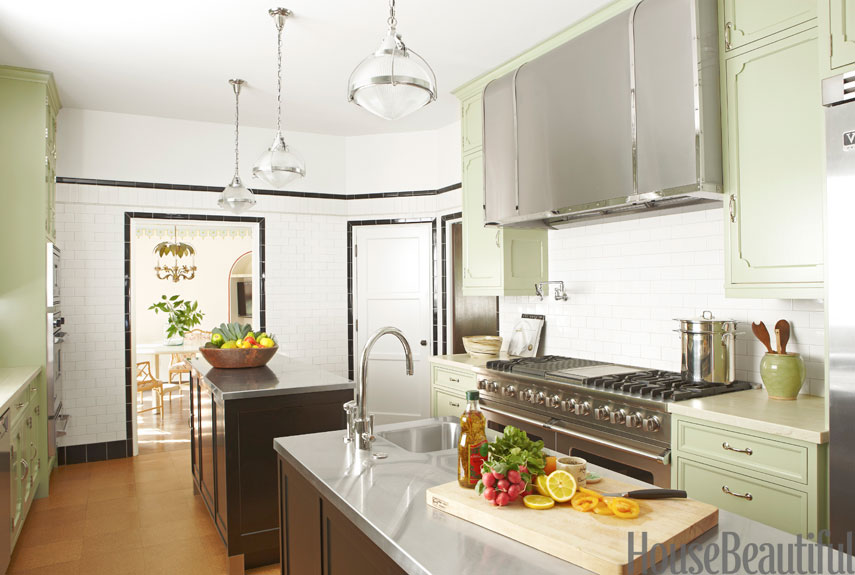 Kitchen With Green Cabinets And Stainless Steel