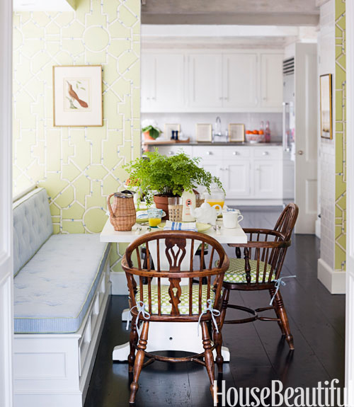 Room With Green Walls And Blue Chairs