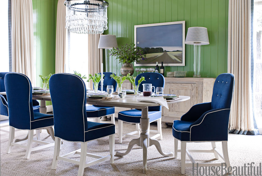 Green Dining Room Accented With Blue