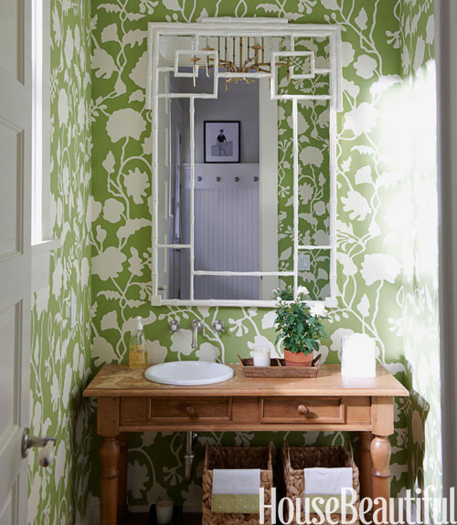 green and white pattern wallpaper in small room. Green Bathrooms   Ideas for Green Bathrooms