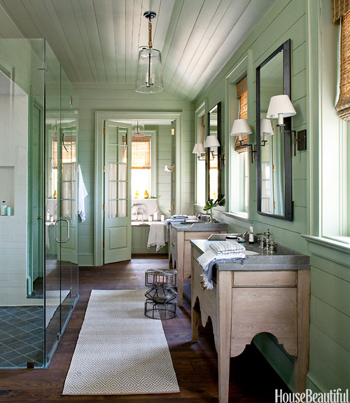 Lake House Bathroom Green Color Decorating Ideas