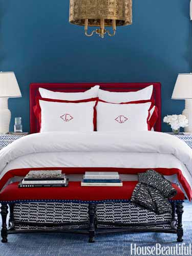 Bedroom Colors Blue And Red decorating with red - home decor in red