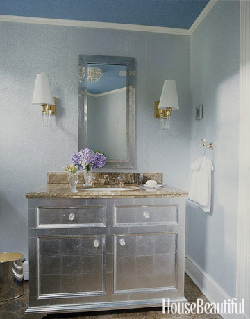 14 best gray bathroom ideas chic gray bathroom design for Blue and silver bathroom accessories