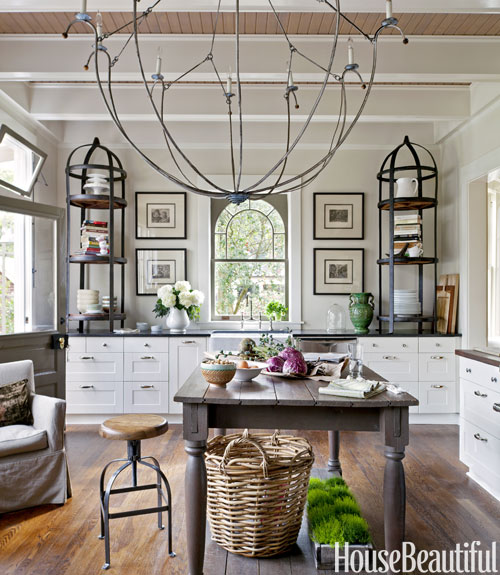 kitchen with large chandelier - French Kitchen Design Ideas
