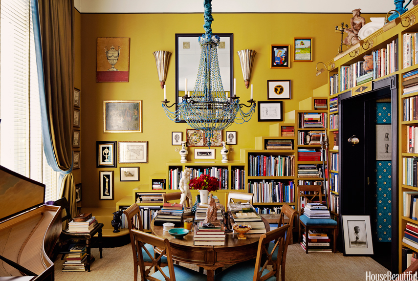 mustard library with blue chandelier - Small Space Design Ideas
