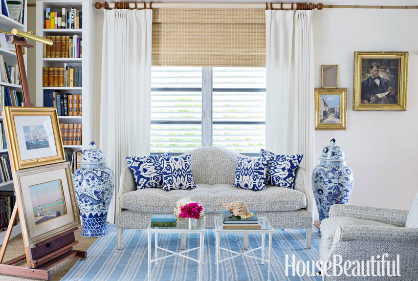 blue and white sofa - Preppy Home Decor