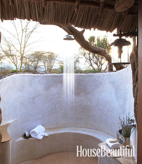 Outdoor shower in kenya house beautiful pinterest - Open air bathroom designs ...