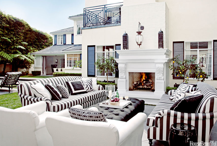 outdoor white fireplace - Million Dollar Decorators