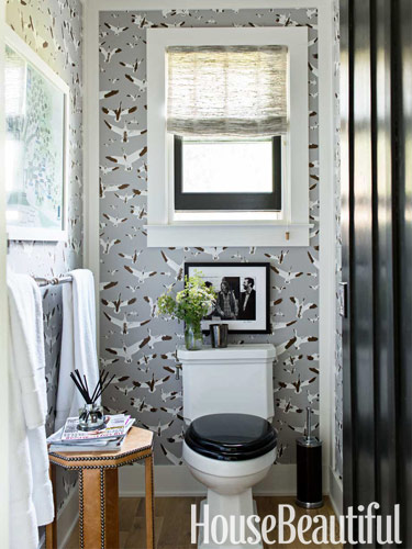 master bathroom with bird wallpaper