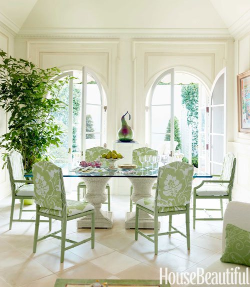 glass topped dining table - House Beautiful Dining Rooms