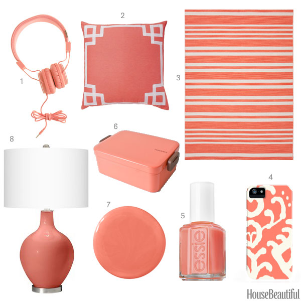 coral pink home accessories - coral home decor