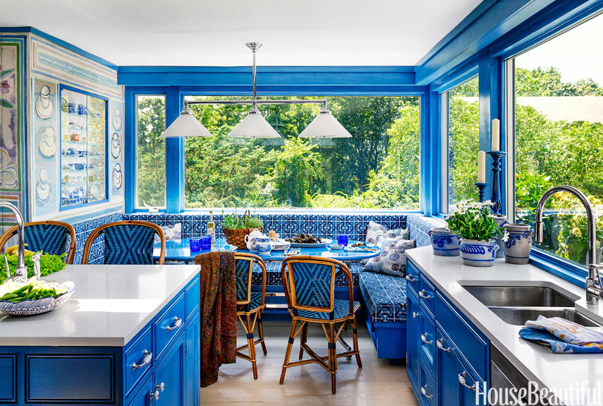 Bright Blue Kitchen Island