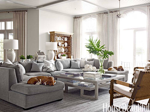 Shades of gray decor shades of gray paint for Large family living room