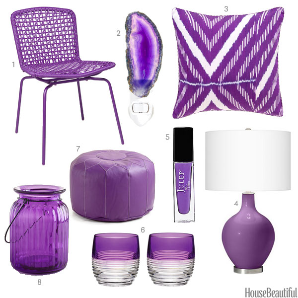 bright purple accessories - purple home decor