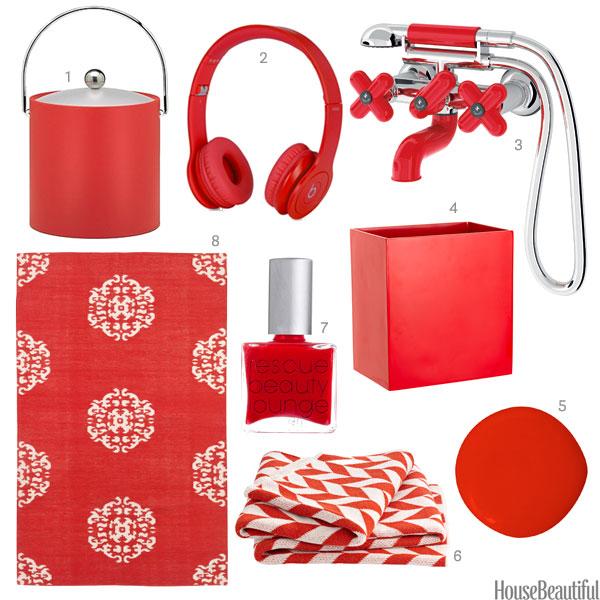 bright red home accessories  bright red home decor