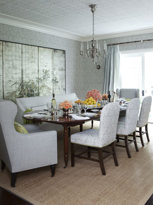 dining room with mixed seating and silver wallpaper - House Beautiful Dining Rooms