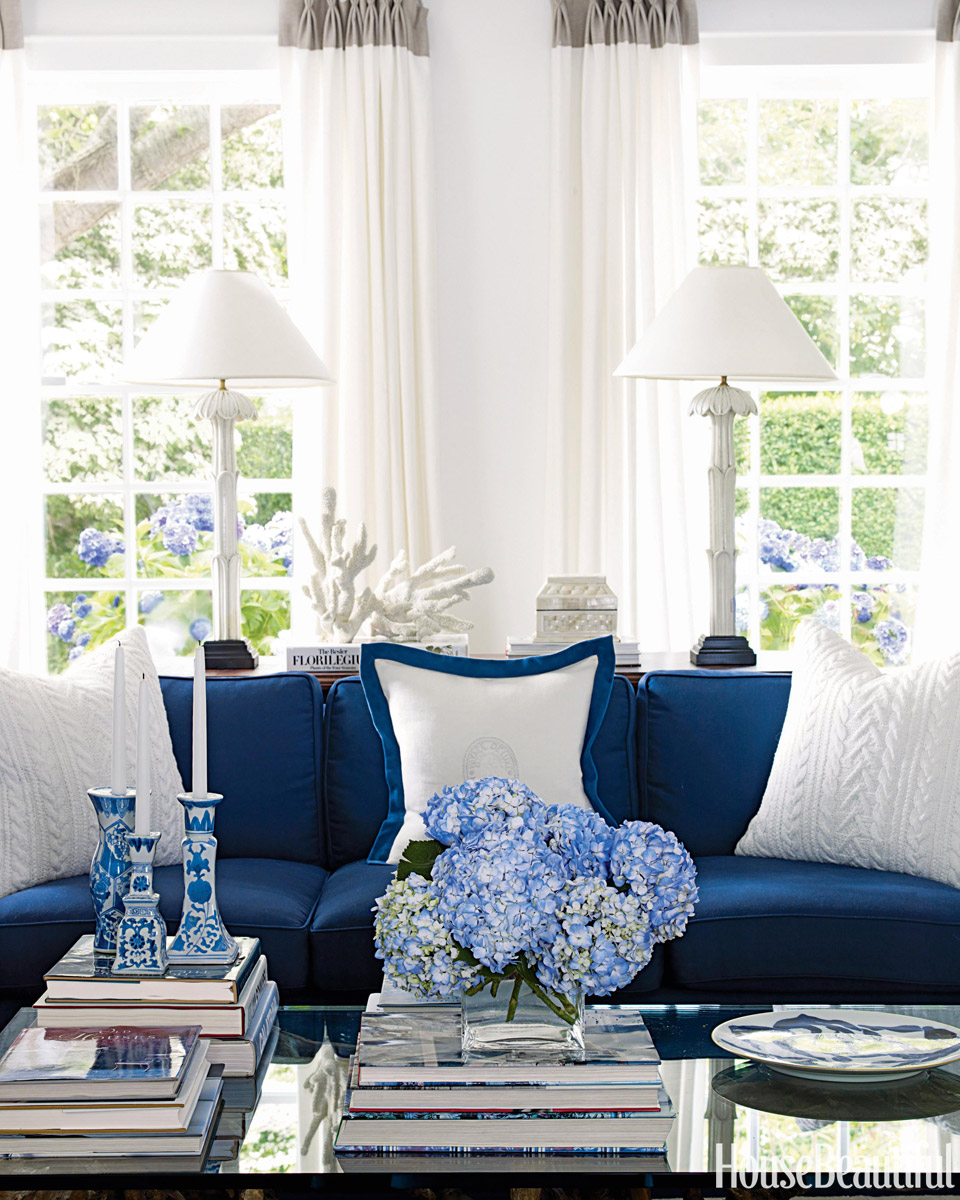 blue and white living room - house beautiful pinterest favorite