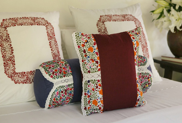 Embroidered bedding colorful stylish pillows Mexican embroidered bedding