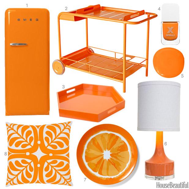 bright orange accessories - Orange Decor