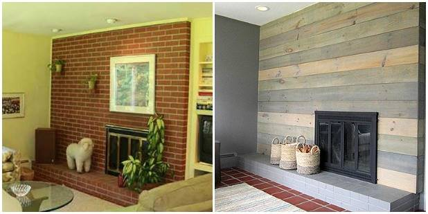Budget makeovers small change makeovers - How to make a brick fireplace look modern ...