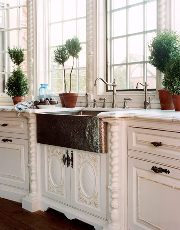 White Kitchen With Copper Sink And Nickel Faucet