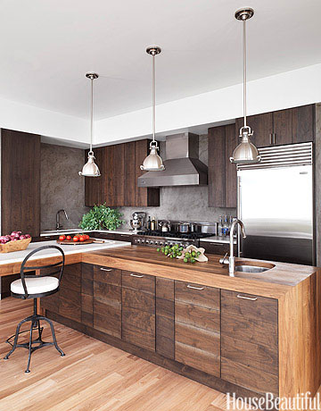 Dark Wood Modern Kitchen modern wood kitchen - walnut kitchen cabinets