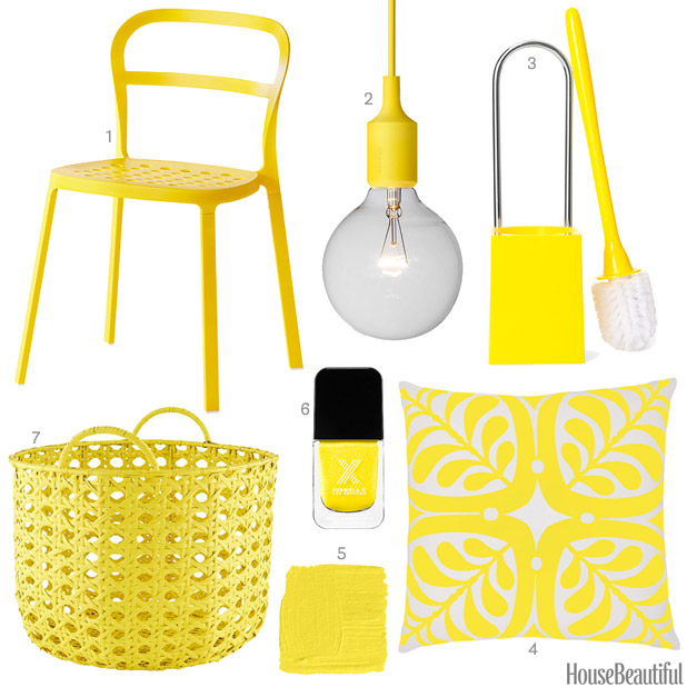 bright yellow accessories - bright yellow home decor