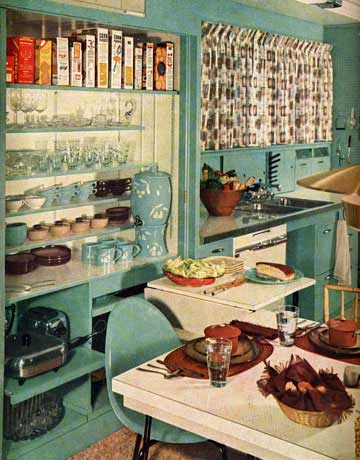 teal colored kitchen - 60s Home Decor