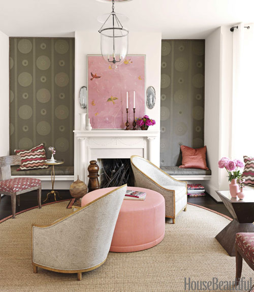 Barry Dixon barry dixon interiors of victorian row house - pink and brown room