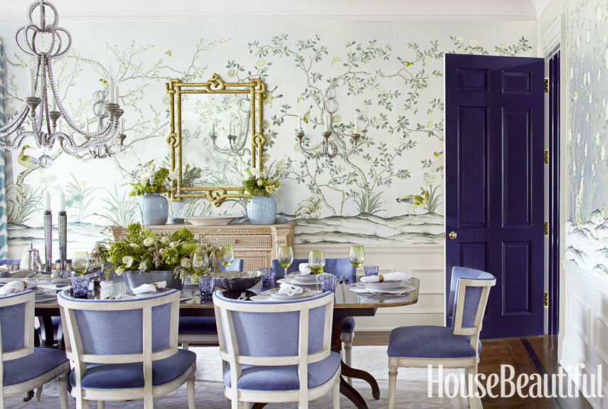 Blue Green And Gray Dining Room