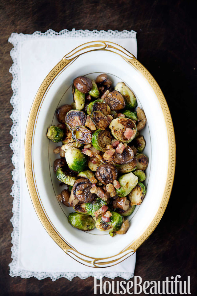 roasted brussels sprouts recipe with bacon - laura pensiero
