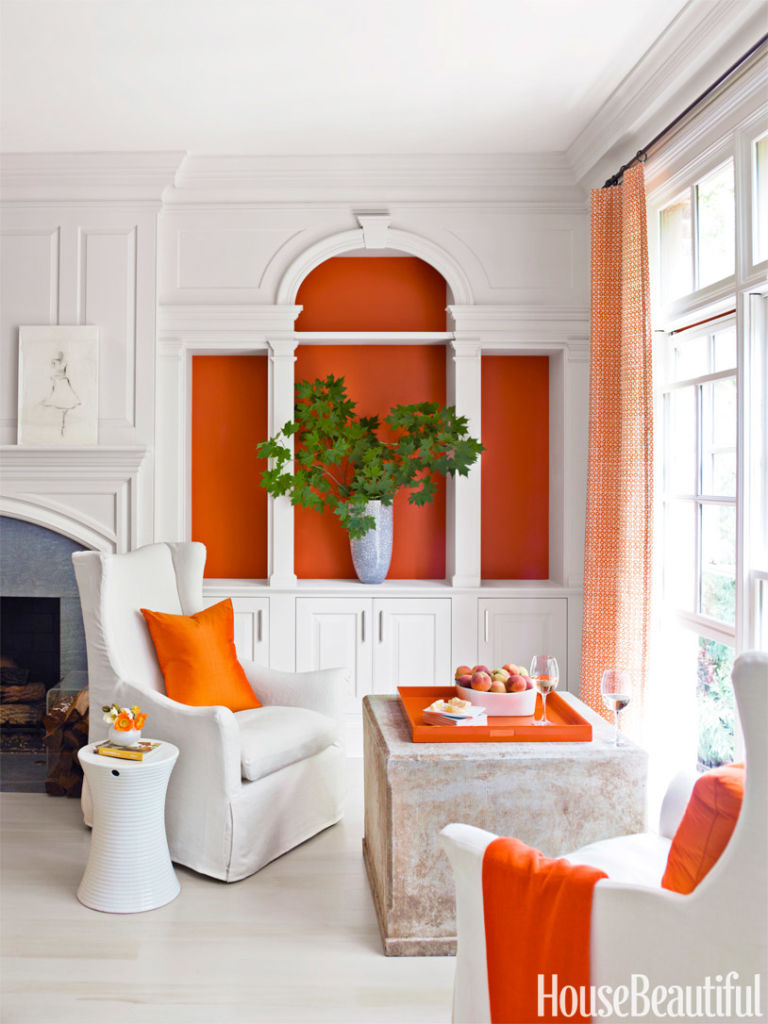 Living Room Decor Orange bookshelf decorating ideas - unique bookshelf decor ideas