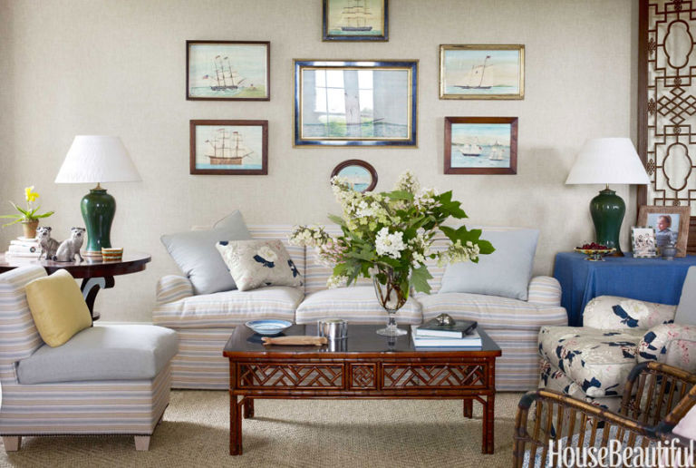 All american design blue decorating ideas for New england style living room ideas