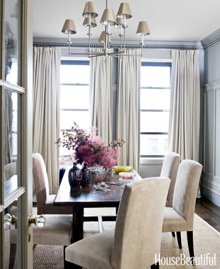 suede dining chairs - House Beautiful Dining Rooms